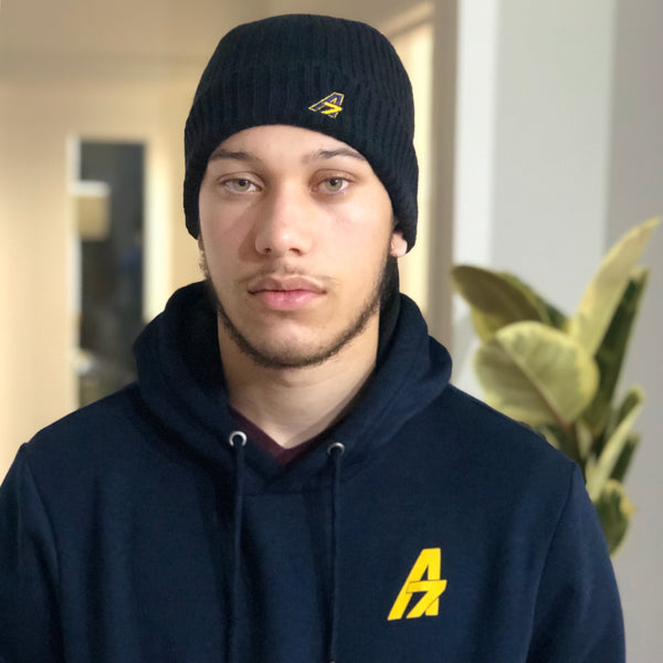 A7 Asher Beanie - Blue with yellow A7 logo