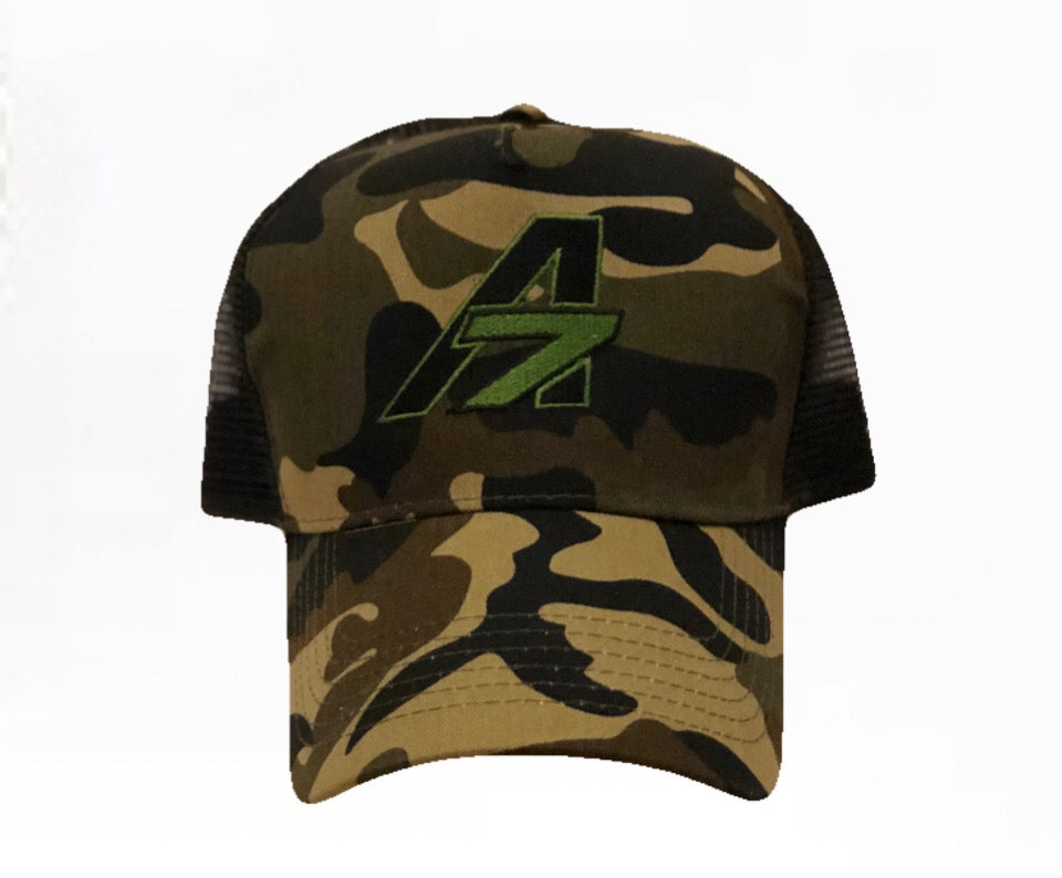 A7 Sportswear Camouflage & black Half Mesh Adult Trucker Cap, with Green A7 Logo
