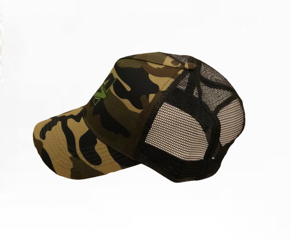 A7 Sportswear Camouflage & black Half Mesh Adult Trucker Cap, with Green A7 Logo profile