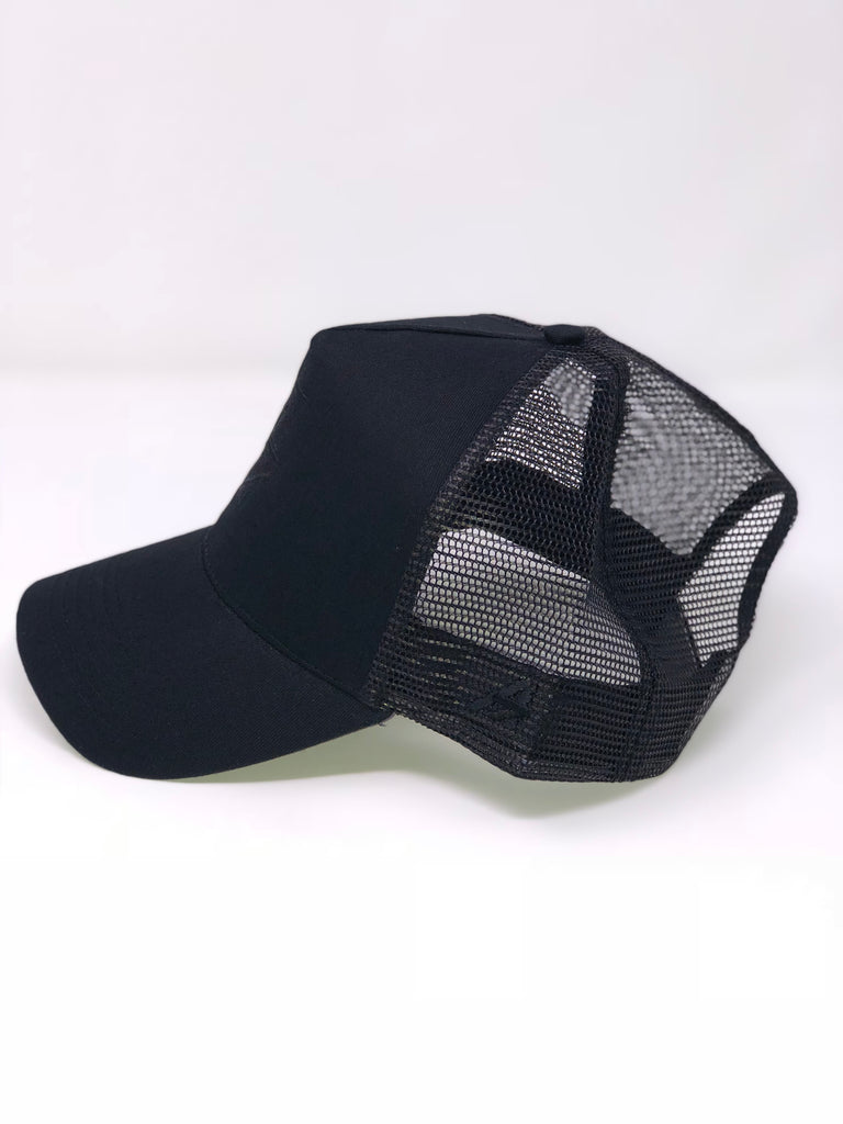 A7Asher Triple Black Half Mesh Adult Trucker Cap