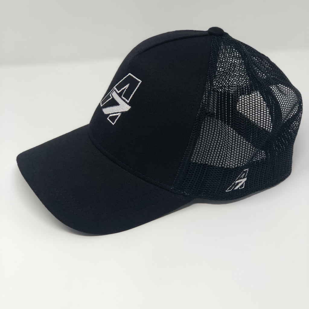 A7 Asher Black Trucker hat, with White embroidered  A7 logo