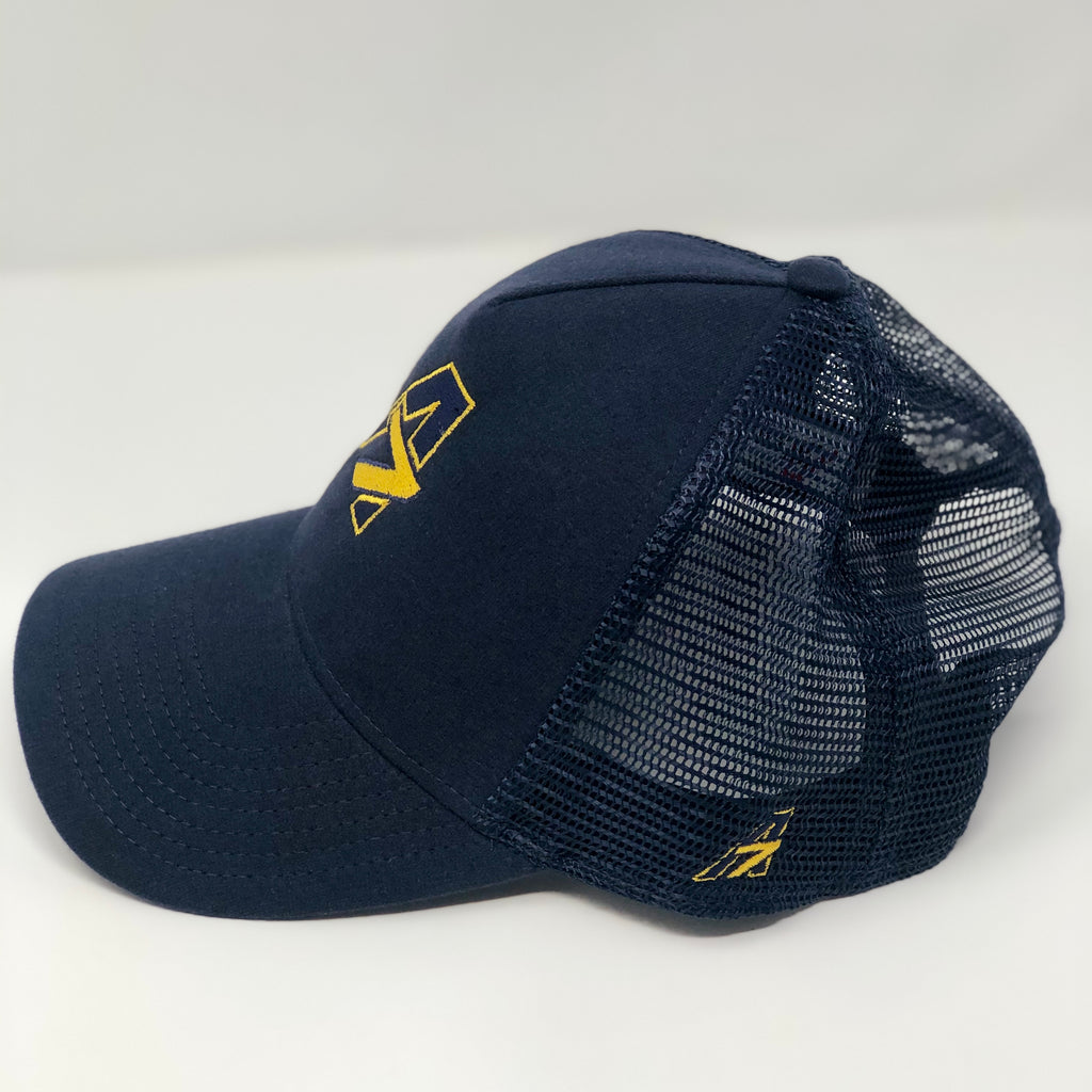 A7 Asher Navy Trucker hat, with Yellow embroidered  A7 logo