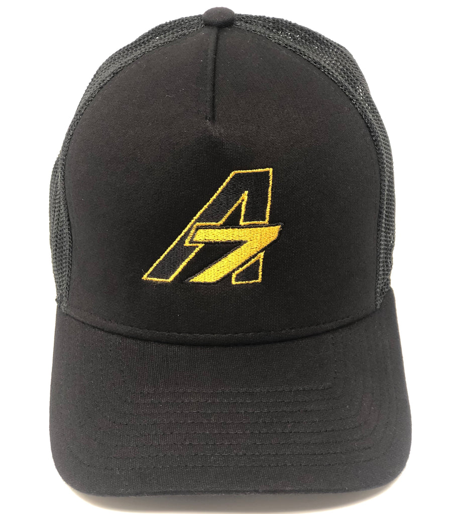 A7 Asher Black Trucker hat, with gold embroidered  A7 logo
