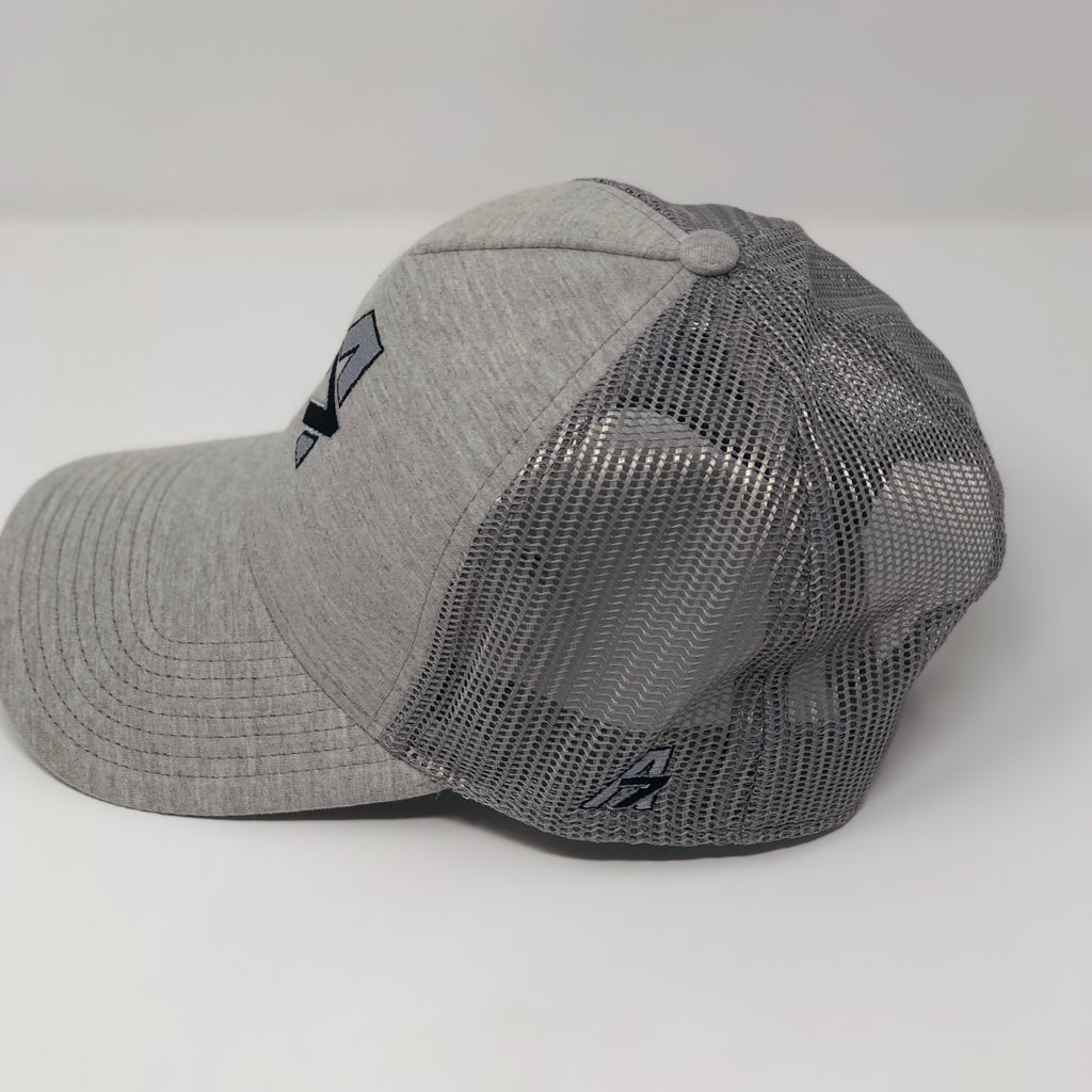 A7 Asher Grey Trucker hat, with Black embroidered  A7 logo