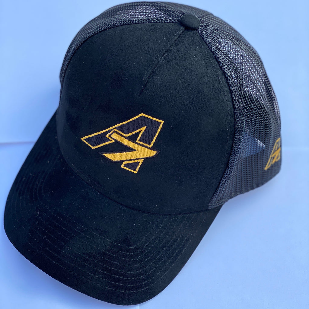 Faux Suede A7 Asher Black Trucker hat, with Gold embroidered  A7 logo