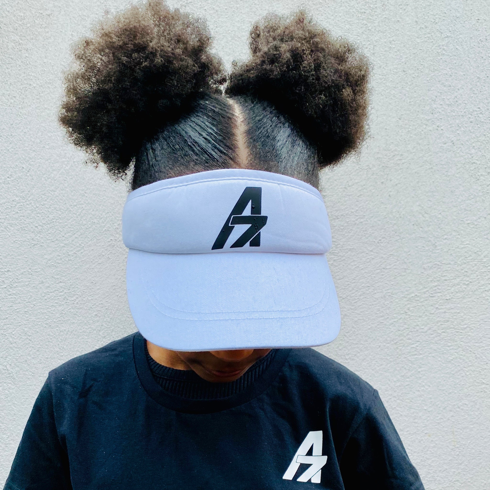 A7Asher White Visor Adult Cap, Black A7 Logo