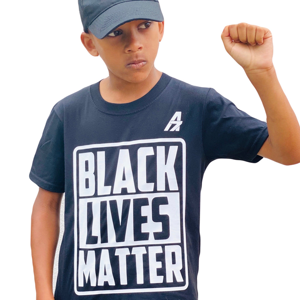 "A7 Asher ""Black Lives Matter"" Children's Black T-Shirt, White A7 Logo"