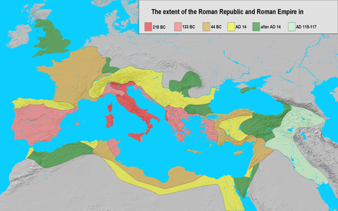 map of Roman territory through time