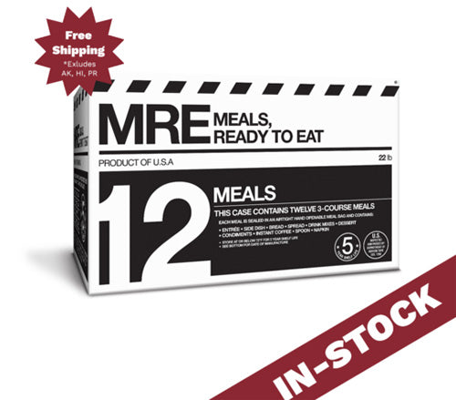 MRE 12-Pack, 3-Course Meals w/ Flameless Ration Heaters & 5-Year Shelf Life