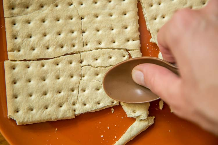 Pulverize the crackers using your spoon, a rock, or something.