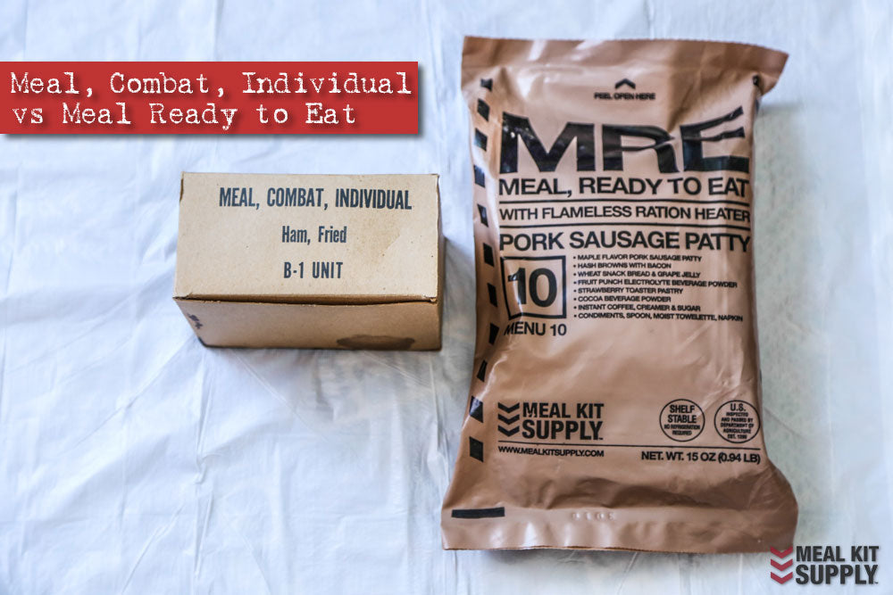 A C-ration compared to a Meal Kit Supply MRE, or Meal, Ready to Eat.