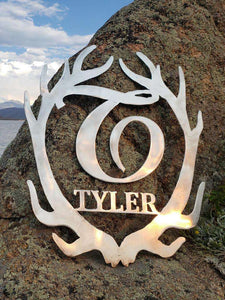 Deer Antler Monogram Metal Art Global