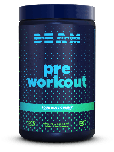 beam be amazing pre workout sour blue gummy flavor clean energy jitter free for men and women