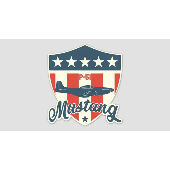 P-51 MUSTANG SHIELD Sticker