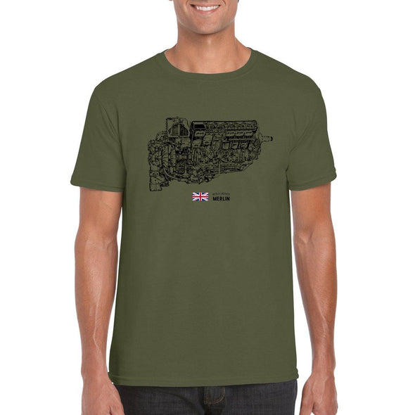 MERLIN ENGINE CUTAWAY Diagram T-Shirt