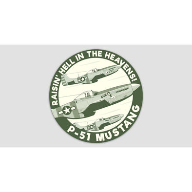 "P-51 MUSTANG ""RAISIN' HELL IN THE HEAVENS"" Sticker"