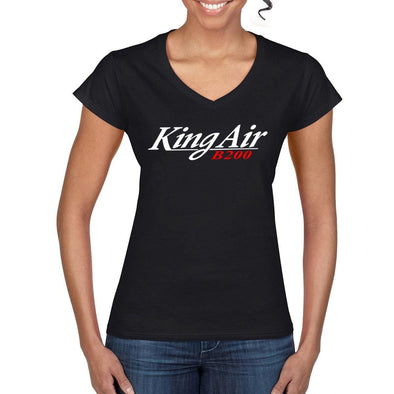 KING AIR B200 Women's V-Neck Tee.