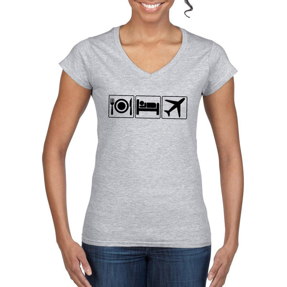 EAT SLEEP FLY Semi-Fitted Women's V-Neck T-Shirt