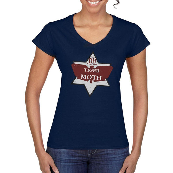 TIGERMOTH LOGO Vintage Women's V-neck Tee