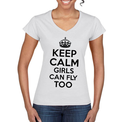 KEEP CALM Girls Can Fly Too Women's  Semi-Fitted T-Shirt