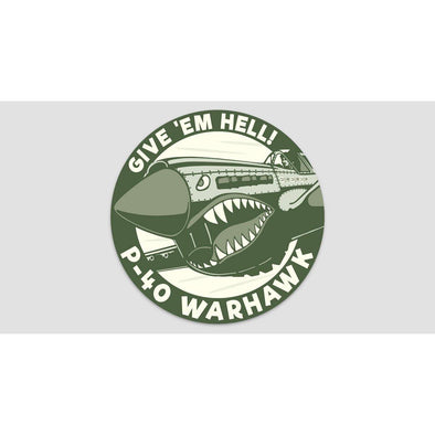 "P-40 WARHAWK ""GIVE 'EM HELL"" Sticker"
