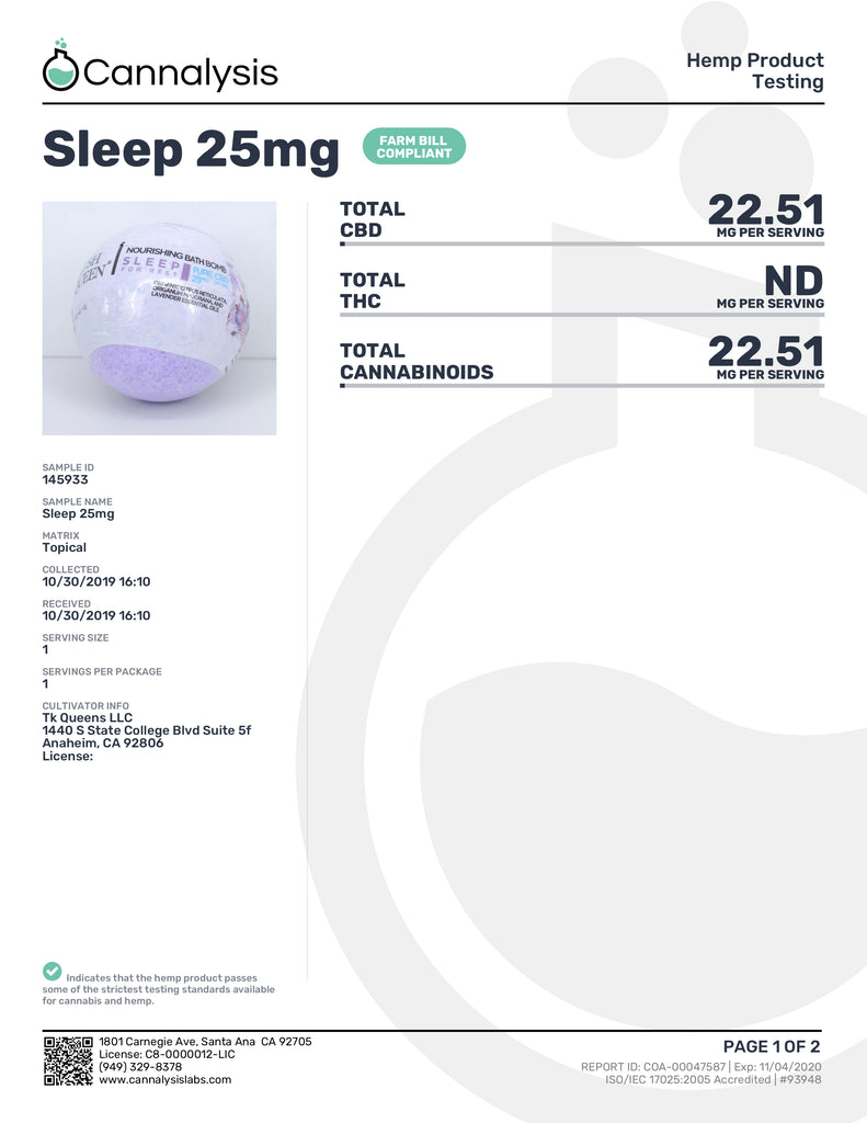 Kush Queen Sleep For Rest 25mg COA