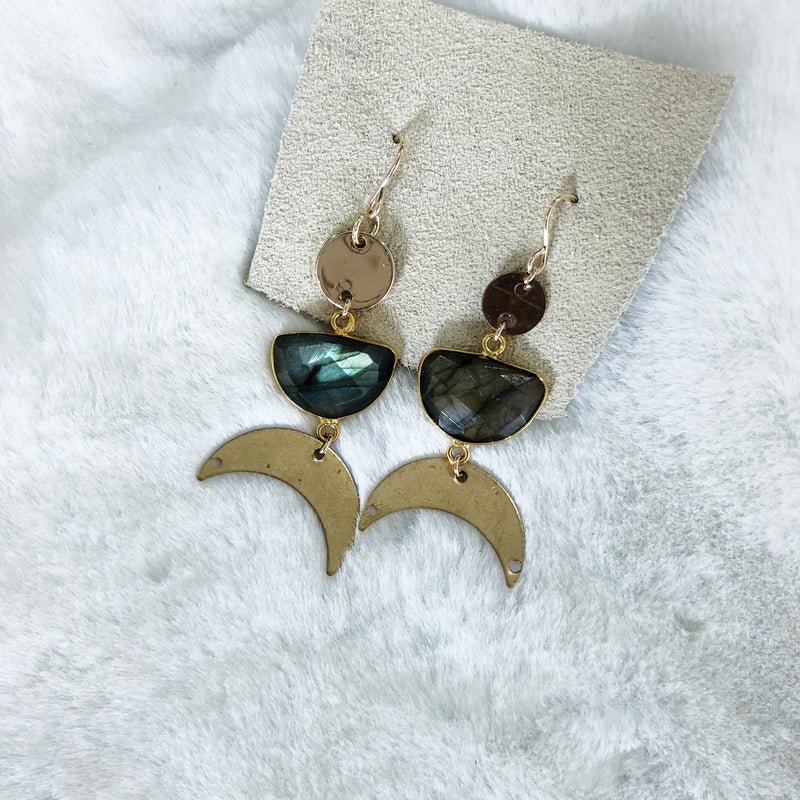 Labradorite Moon Earrings - Gypset