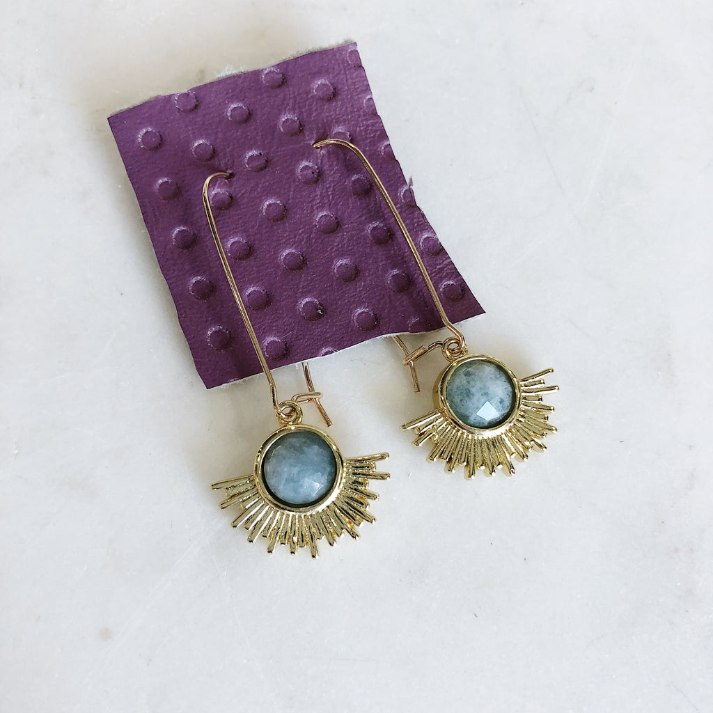 Minimal Aquamarine Sun Earrings - Gypset