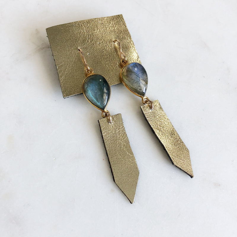 Leather Labradorite Earrings - Gypset