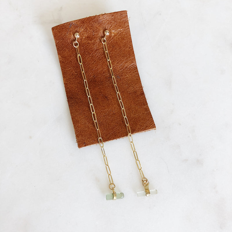 Green Tourmaline Chain Earrings - Gypset