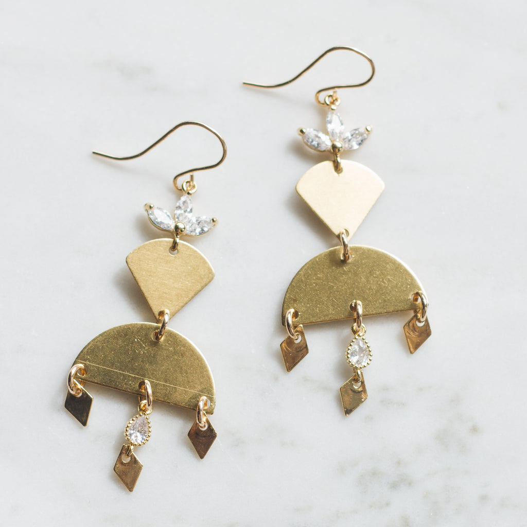 Boho Glam Crystal Holiday Earrings