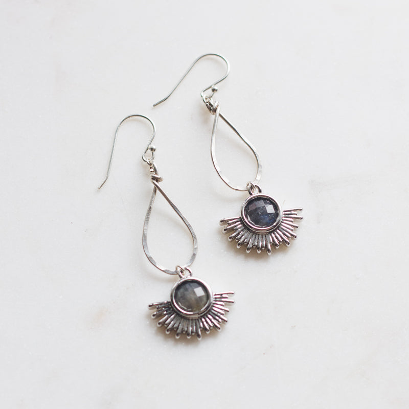 Silver Sun Dangle Earrings