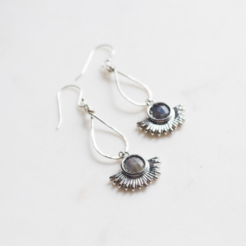 Silver Sun Dangle Earrings - Gypset