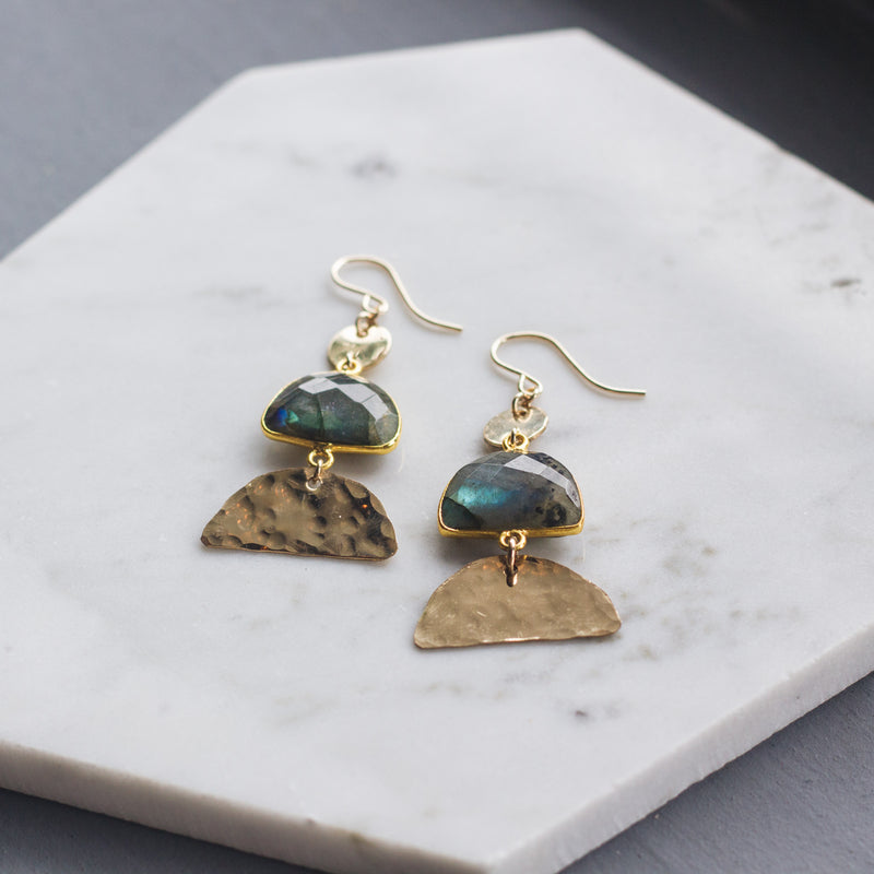 Half Moon Labradorite Deco Earrings