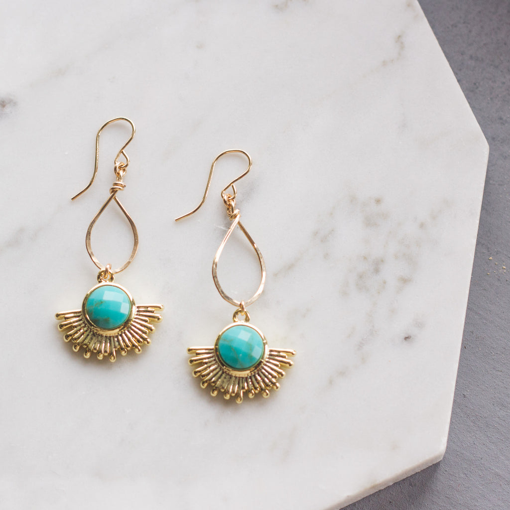 Gold Sun Dangle Earrings - Gypset