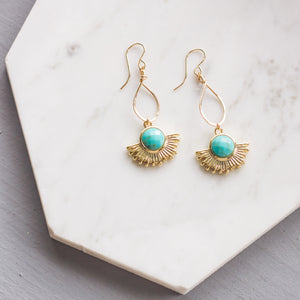 Gold Sun Dangle Earrings