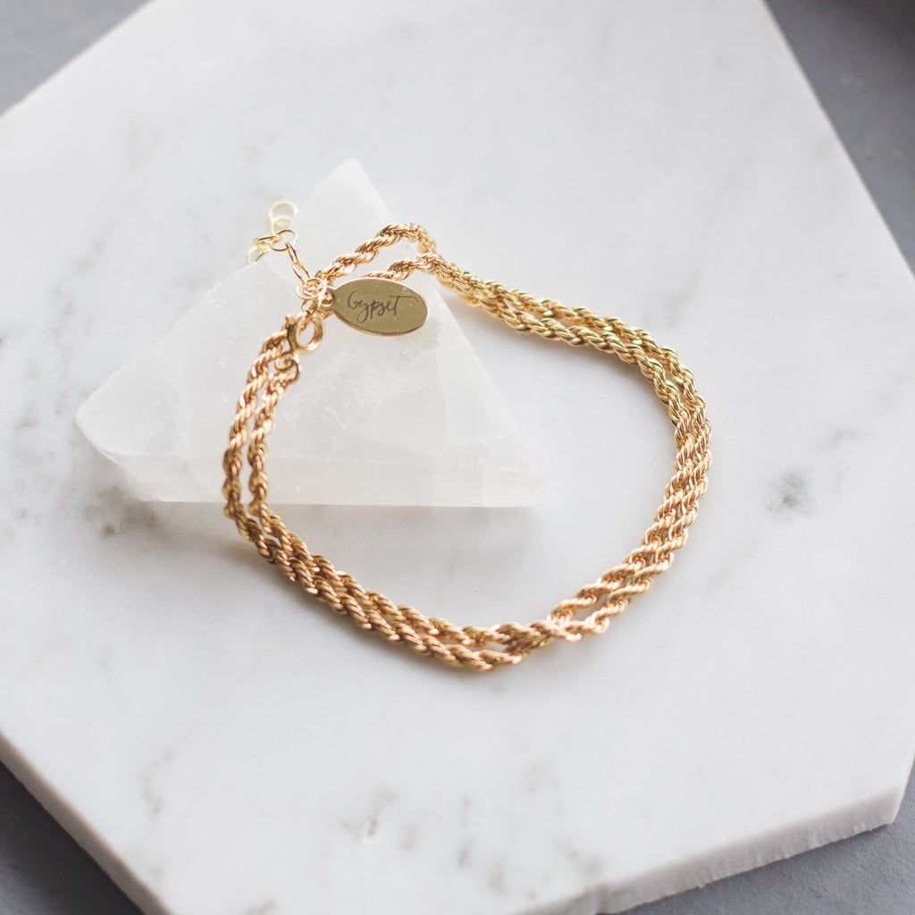 Gold Rope Chain Layering Bracelet