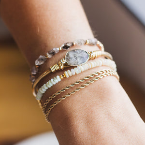 Double Wrap Gold Rope Chain Layering Bracelet - Gypset