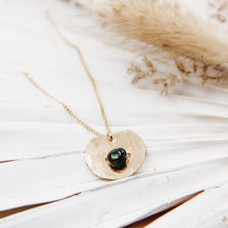 Black Opal Coin Necklace