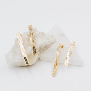 Gold Hammered Bar Earrings - Gypset