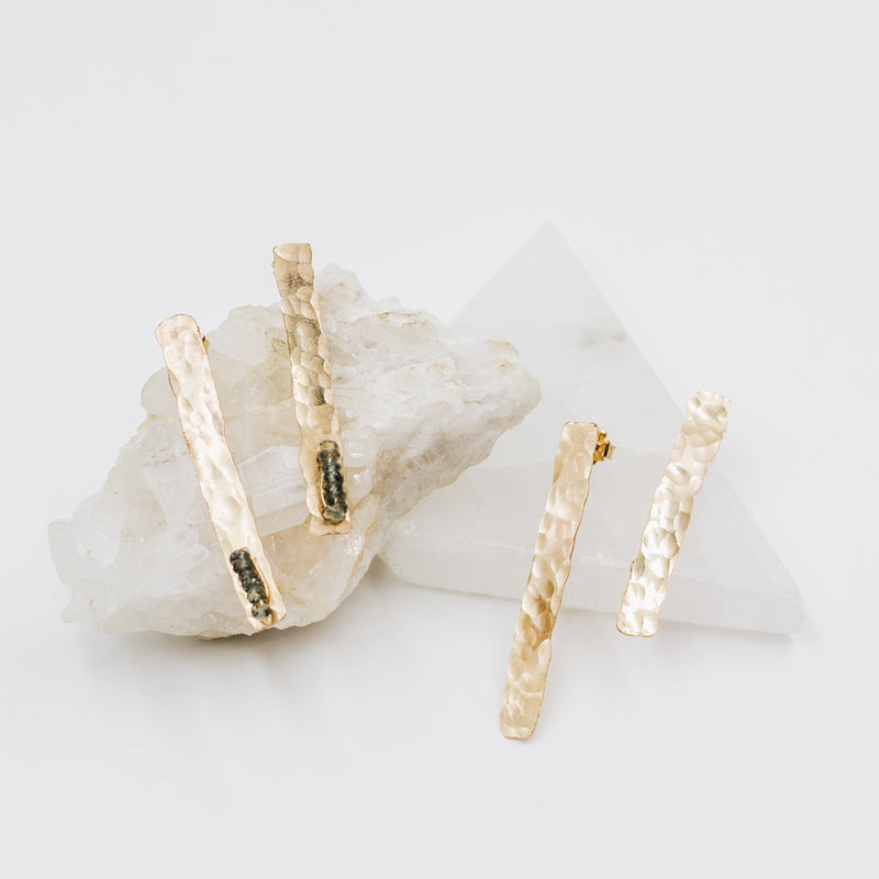 Gold Hammered Bar Earrings