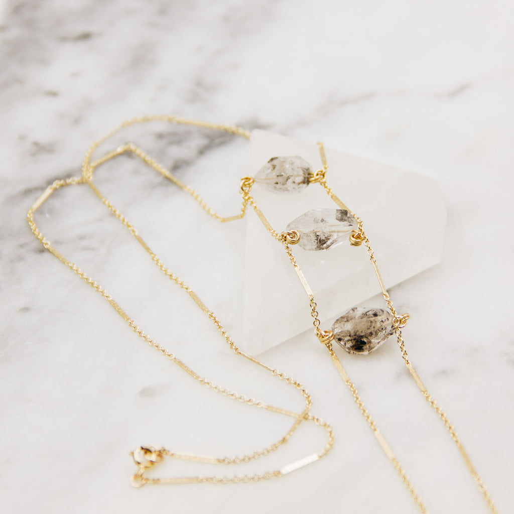Down The Road | Herkimer Diamond Bolo Necklace - Gypset