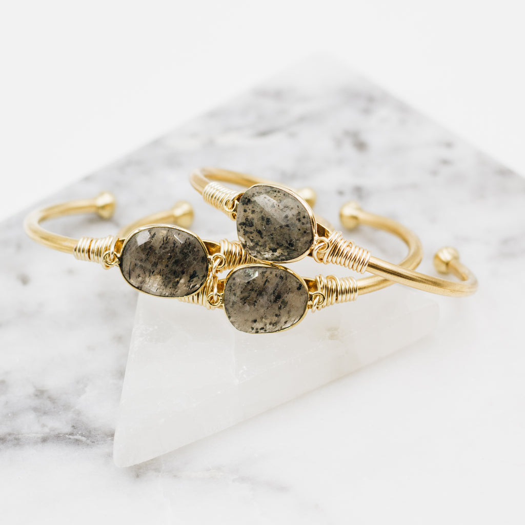 Salt & Pepper Quartz Cuff Bracelet - Gypset