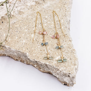 Rainbow Rain Watermelon Tourmaline Threader Earrings