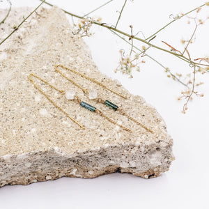 Leon | Tourmaline + Herkimer Diamond Threader Earrings