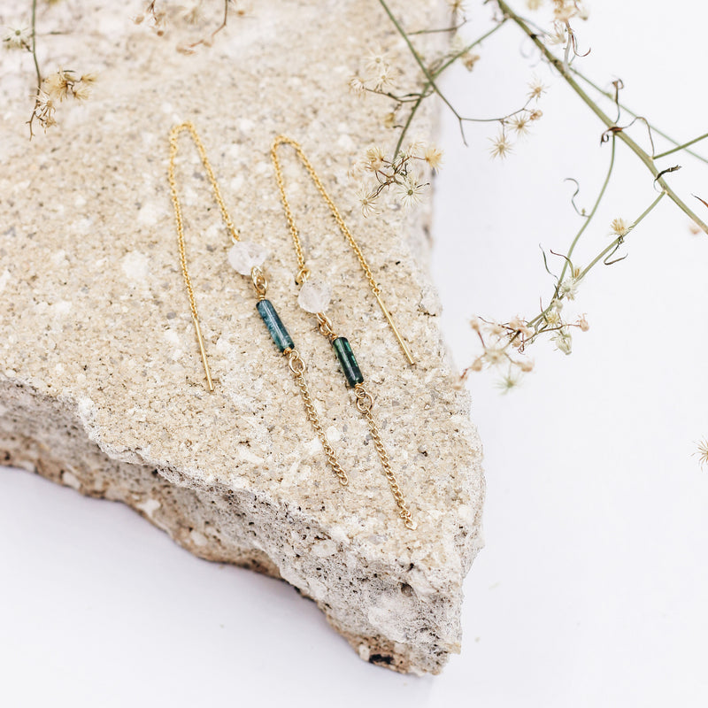 Leon | Tourmaline + Herkimer Diamond Threader Earrings - Gypset