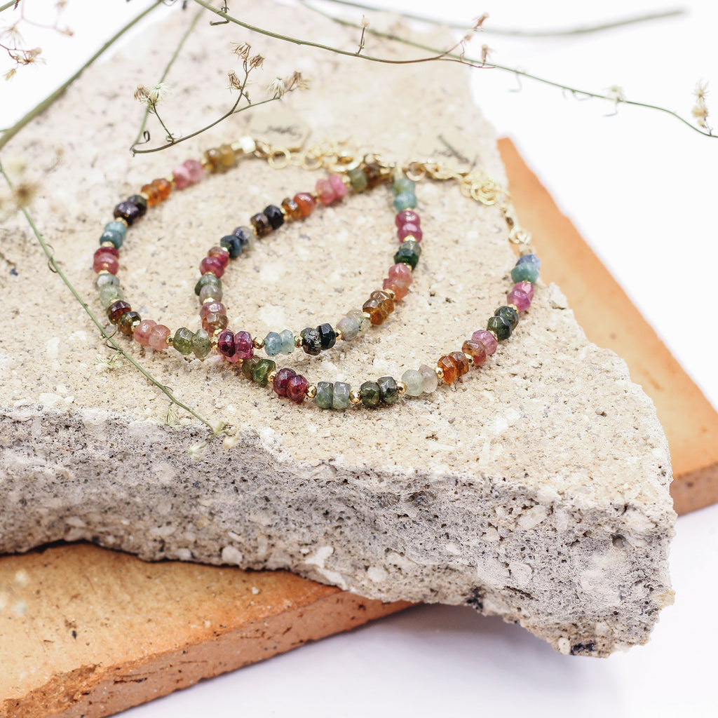 Brilliant Road | Watermelon Tourmaline Beaded Bracelet - Gypset