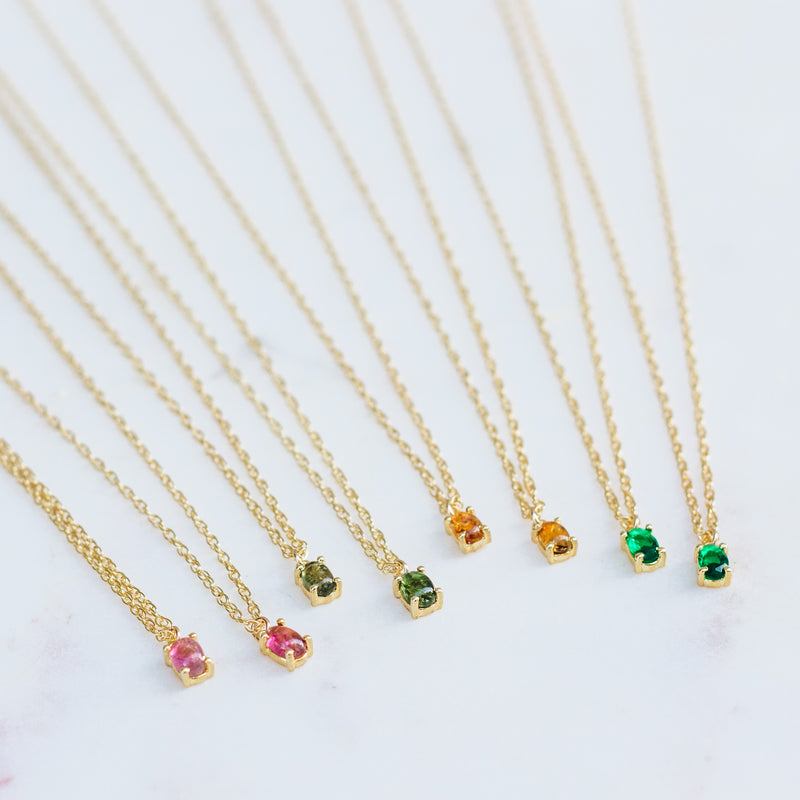 Tiny Gemstone Birthstone Necklace