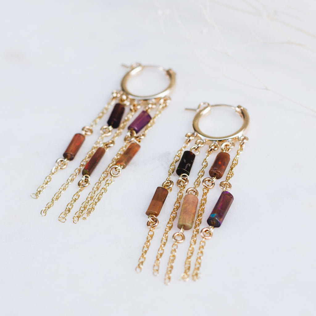 Midnight Opal Dangle Earrings - Gypset