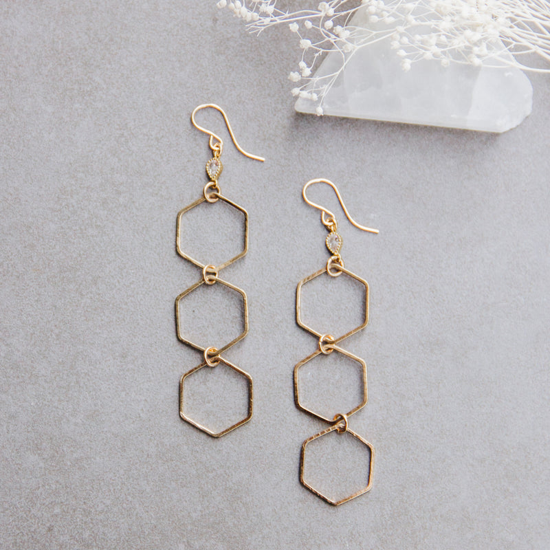 Hexagon Row Dangle Earrings